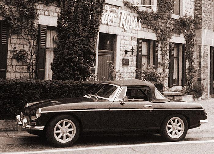 Our '69 B in front of a nice, little hotel in Belgium. Summer 2004.