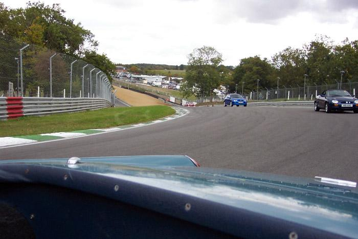 Rounding Druids in our Mk1 Midget....'chased' by MGF, ZR and BV8 Roadster
