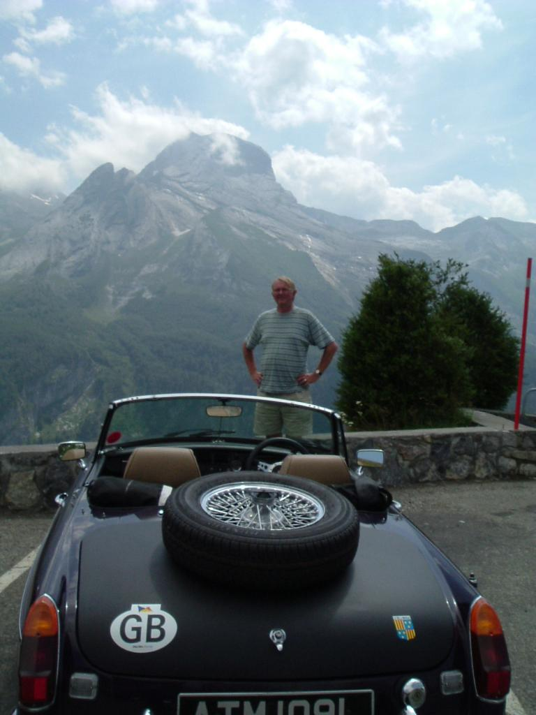1972 MGB RoadsterTulip Black.  At rest after descending from 7,000 ft in the Pyrenees