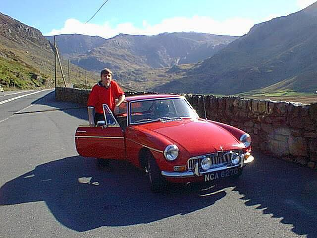 1968 MGB GT on run through the beautiful mountains of North Wales