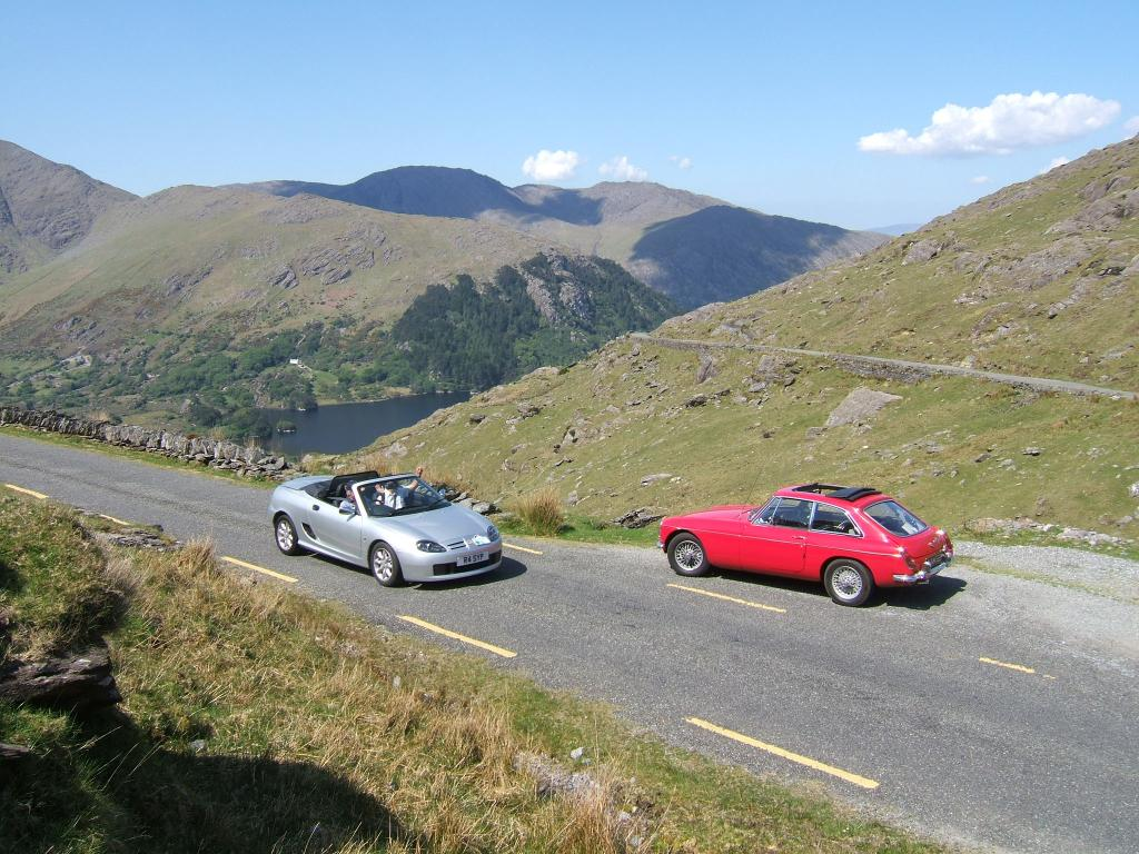 MGB GT 'Kamilla' meets Peter and Mary Davey's MGF on the Healy pass near Killarney .