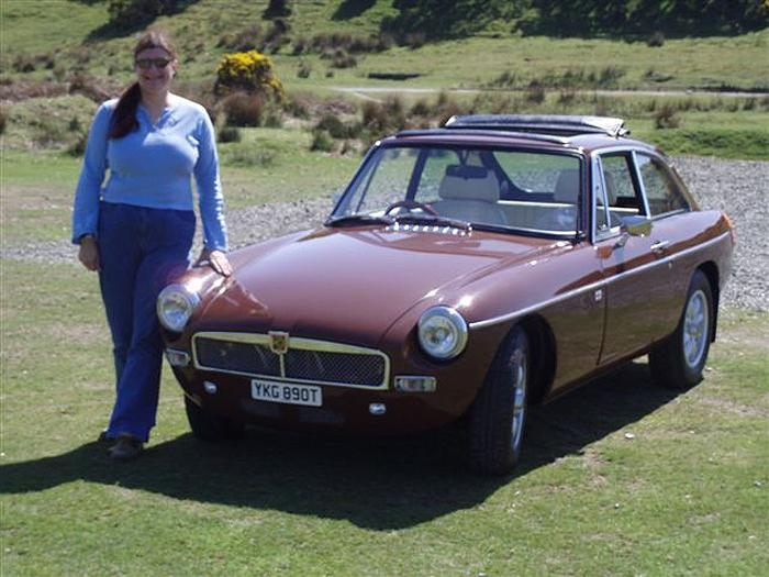 Hilary with her MGB GT