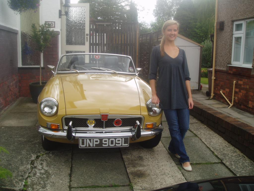 My '73 MGB Beatice and daughter Emily