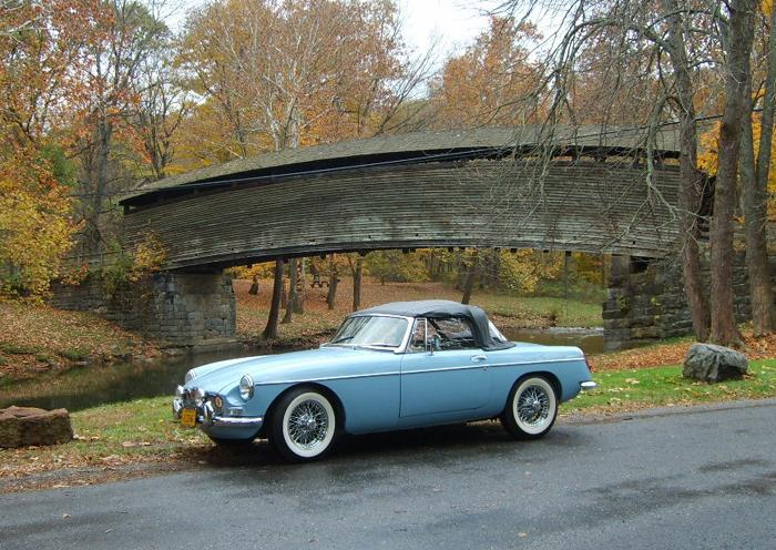 My 1965 MGB Tourer in front of Humpback Bridge, located in Virginia, USA.