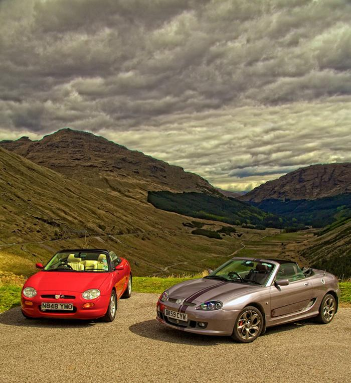 """Taken on the Highlander event at the """"Rest and Be Thankful"""" car park viewing area a 1995 mk 1 MGF with a 2009 MGTF 85th Anniversary LE"""