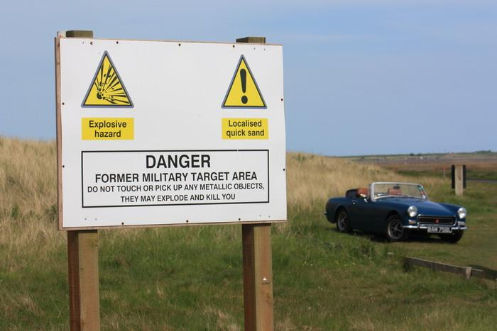 """We'd taken our 1972 Midget to Holy Island at Whitsun, where we came across this warning notice: """"Do not touch or pick up any metallic objects....."""" Don't remember seeing that in the Haynes manual......"""