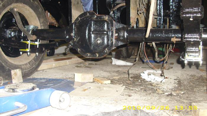This is just an underside shot showing the nearly finished rear suspension (just need a spax kit or similar)and axle, now she's out on the drive were getting started on the off-side body work.