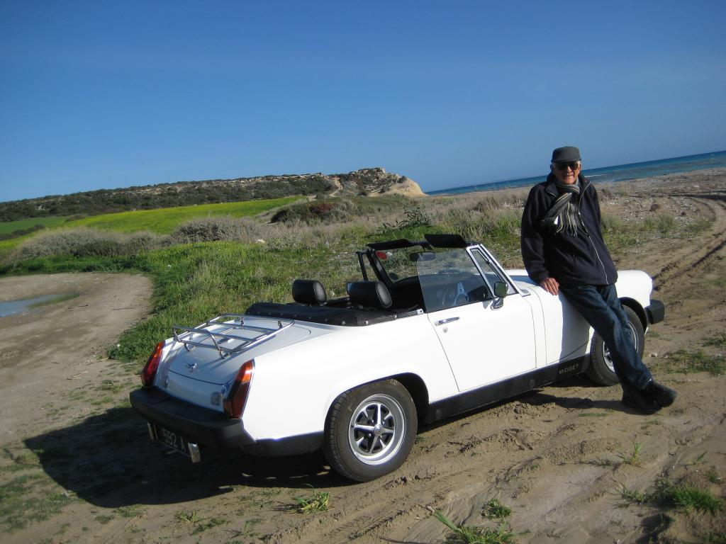 Us enjoying Cyprus's mild weather - Jan 2014 - with my 5 speed lovely Midget