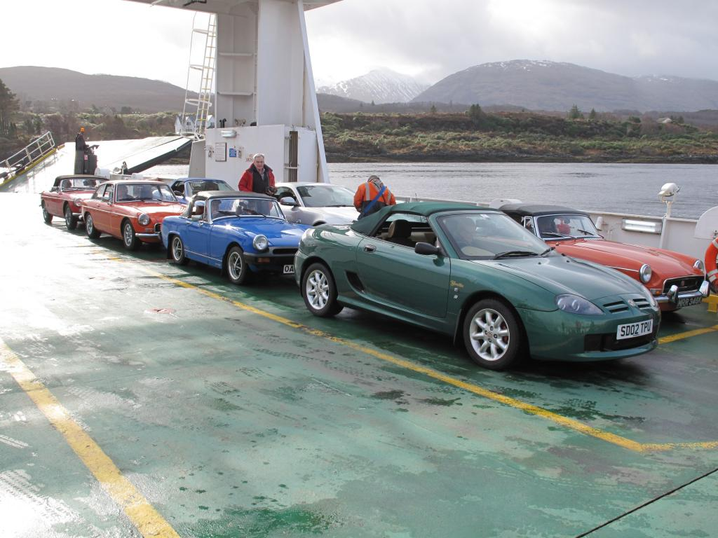 Aberdeen MGOC members heading to Ardnamurchan with the Corran Ferry all to themselves!